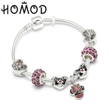 HOMOD Mickey Charm Beads Brand Bracelets & Bangles Minnie Mouse Jewellery For Women Gift Bijoux Femme Accessories
