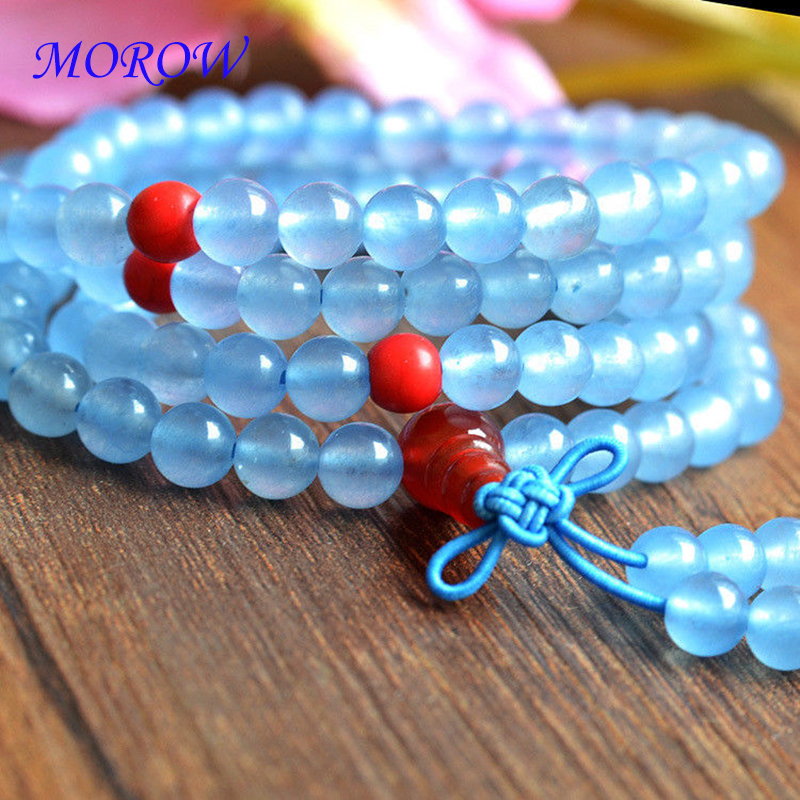 MOROW 1pcs/108 Beads Natural SkyBlue Red Chalcedony Stone Bead Bracelet Elastic Rope Fashion Bracelet for Women Men Gift Jewelry