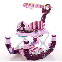 New Shed Baby Walker with Wheels Step Car with Toys Music Rocking Horse Foldable Pedal Brake Baby Learning Walking Assistant