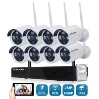 1080P Wireless CCTV System 2 0MP 8ch HD WiFi NVR Kit Outdoor IR Night Vision IP