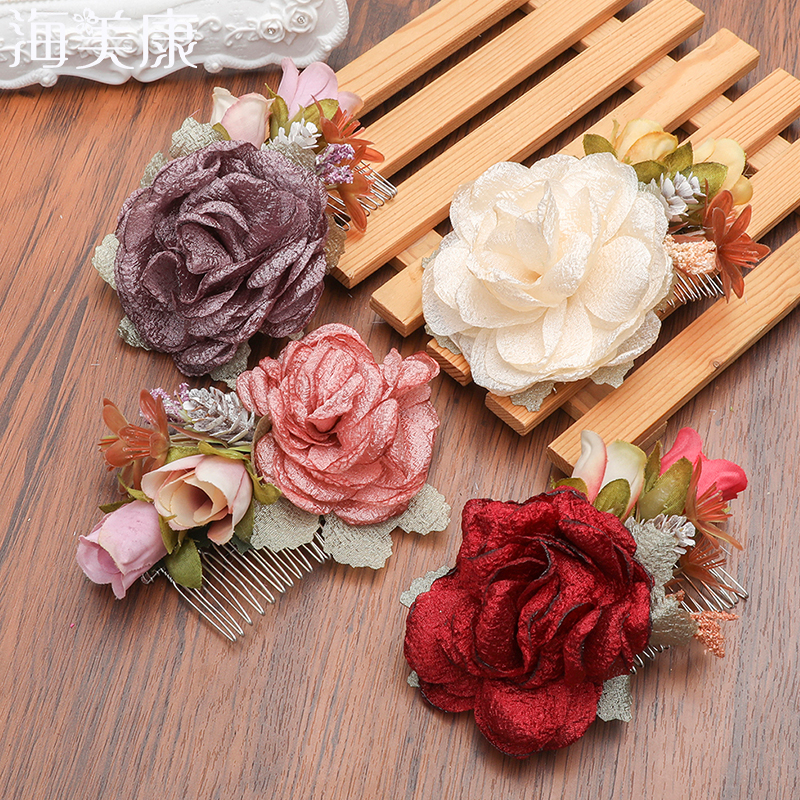 Haimeikang 1 Pc Rose Flower Hair Combs Wedding Crown   Headwear   Blooming Flower Headband for Bride Girls Flower Hair Clip Wedding