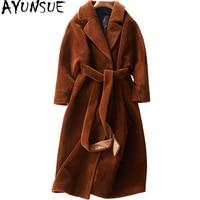AYUNSUE Sheep Shearing Overcoat Women 2018 Real Fur Coat Female Jacket Long Winter Warm Lamb Fur Coats casaco feminino WYQ780