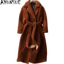 Ayunsue ovelhas shearing casaco feminino 2018 casaco de pele real feminino longo inverno quente casacos de pele de cordeiro casaco feminino wyq780