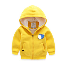 Cartoon Duck Kids warm Outwear Cotton with faux fur wool Hooded jacket cardigan coat for boys girls Children's Clothing Brand
