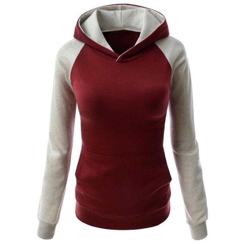 2017 Women Hoodies Casual Hooded Long Sleeves Pocket Design Patchworked Hoodies Sudaderas Mujer