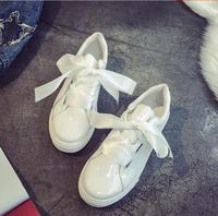Uniqueness White Leather Shoes Female Students All Match Artistic Laces Wide Tidal Flat Casual Literary