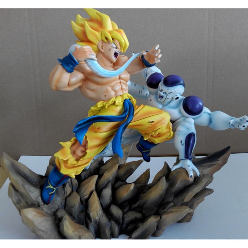 GK 1/6 Dragon Ball Super Saiyan Son Goku Vs Freezer Universo Boss Statua Action Figure Collection Model Toy M882