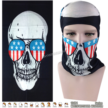 EXPRESS SHIPPING 100pcs/lot (Mixed Model OK) US Flag Glasses Skull Magic Mask Neck Warmers Multifunction Bandana Tube Headwear
