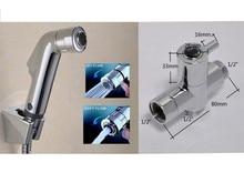 Hot sale Brass G1/2 t-adapter Two Ways Handheld Toilet Portable Bidet Diaper Spray Head Shower Muslim Shattaf  with hose set