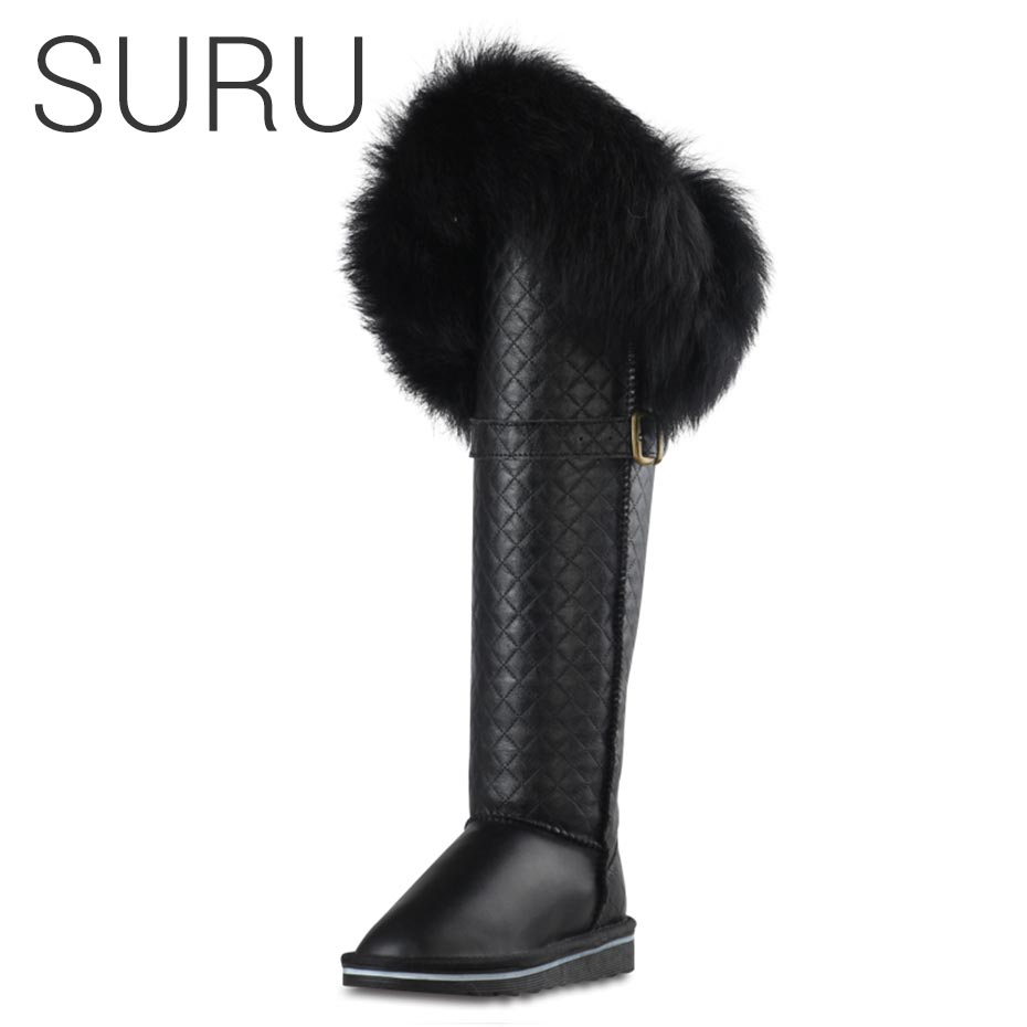 SURU Diamond Check Fox Fur Detail Real Fur Australian Boots Woman Over the Knee Boots Women's Boots Genuine Leather