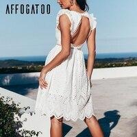 Afogaboo открытое белое платье с открытой спиной женское винтажное короткое хлопковое платье с v-образным вырезом и оборками Элегантное повсед...