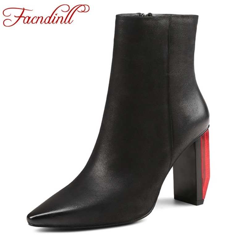 FACNDINLL women riding boots new genuine leather thick high heels pointed toe shoes woman zipper black ankle boots autumn boots facndinll genuine leather ankle boots for women new fashion short boots high heels pointed toe lace up women black riding boots