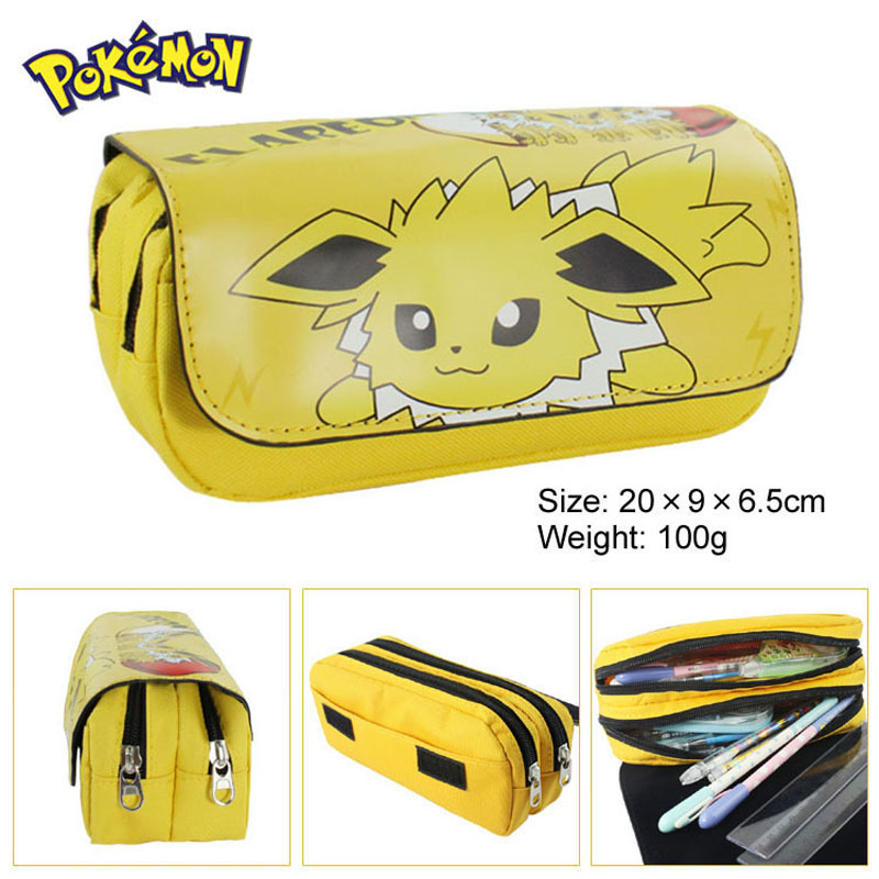 Hot Sell Game Pokemon to Pencil Case Wallet Poke Eevee Pikachu Cosmetic Makeup Coin Pouch Double Zipper Pen Bag
