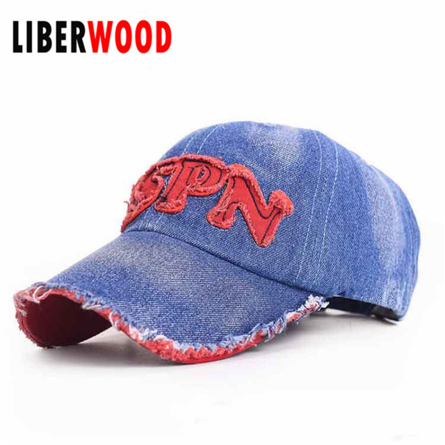 fda4a3621e118 Men Women cotton KSPN Baseball Cap blue denim jean adult Strapback Hat  Distressed Vintage Outdoor Sports cap for summer spring