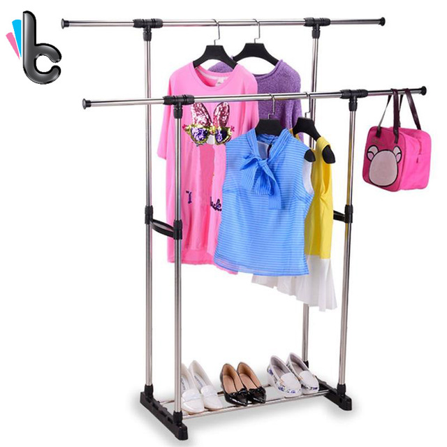 Portable Double Rods Clothes Rack Adjustable Garment Rack  With Tiers  Storage Shelves