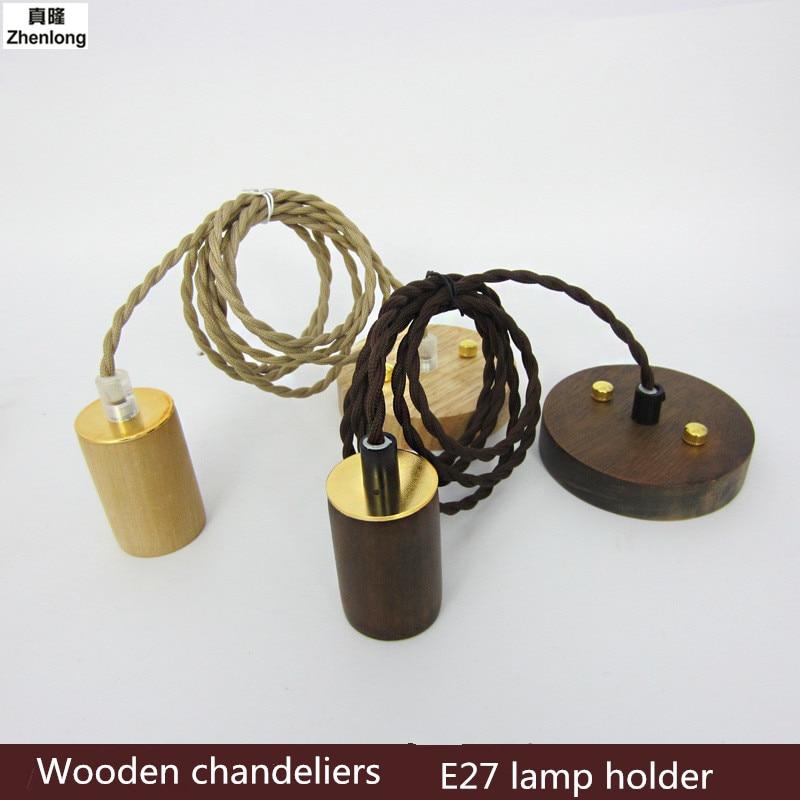 E27 Retro Vintage Wooden Pendant Light Lamp Loft Creative Personality Industrial Lamp Edison Bulb American Style For Living Room