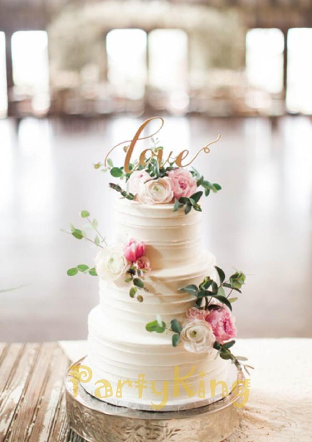 personalized wedding cake topper LOVE Bing Gold Wedding Cake Topper free shipping birthday
