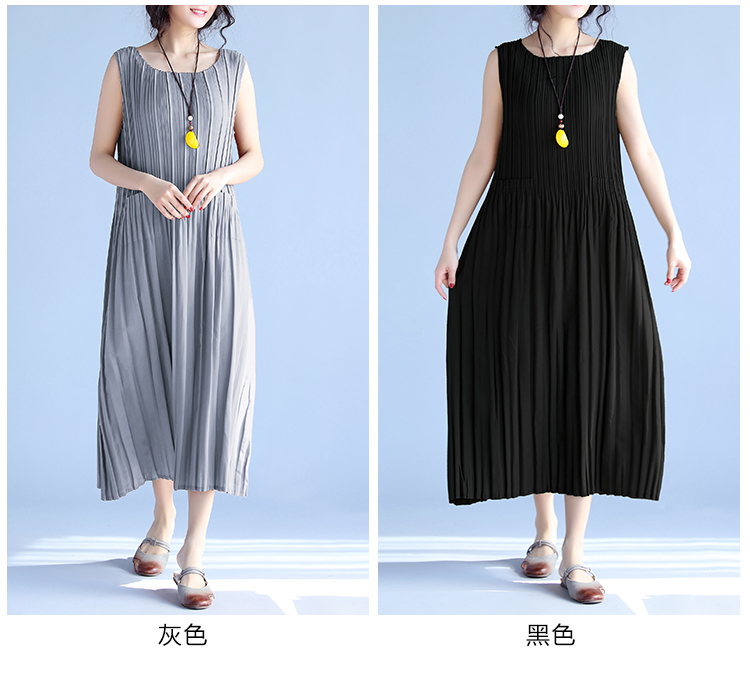 BelineRosa Women's Summer Dresses 17 Pure Color Casual Women Draped Dress Sleeveless Plus Size Dresses for Women QY00001 6