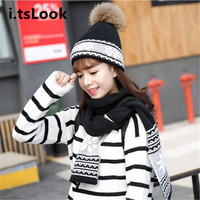 Luxury Women Hat Scarf Set Girl Wrap Knitted Beanie Shawls Female Crochet Winter 2 Pieces Set
