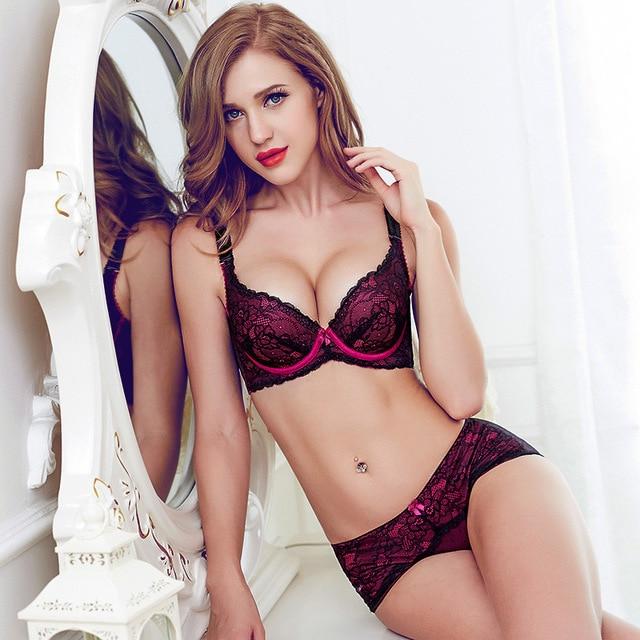 78e5a5157 Elegant Lace Floral Bralette Sexy Gather Push Up Bra and Panty Set  Transparent Briefs Underwear Women Adjustable Lingerie Set