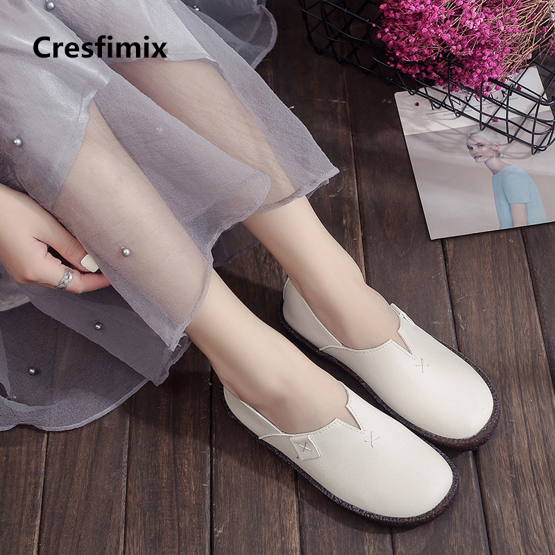 Cresfimix femmes appartements women fashion high quality soft pu leather flat shoes lady casual white shoes comfy shoes a581 2016 year end clearance sale women casual shoes summer lady soft fashion shoes high quality breathable shoes mm x02