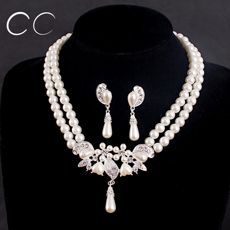 Fashion Wedding Jewelry Sets For Brides Pearl Necklace Earring Women Elegant Accessories D009 In From On