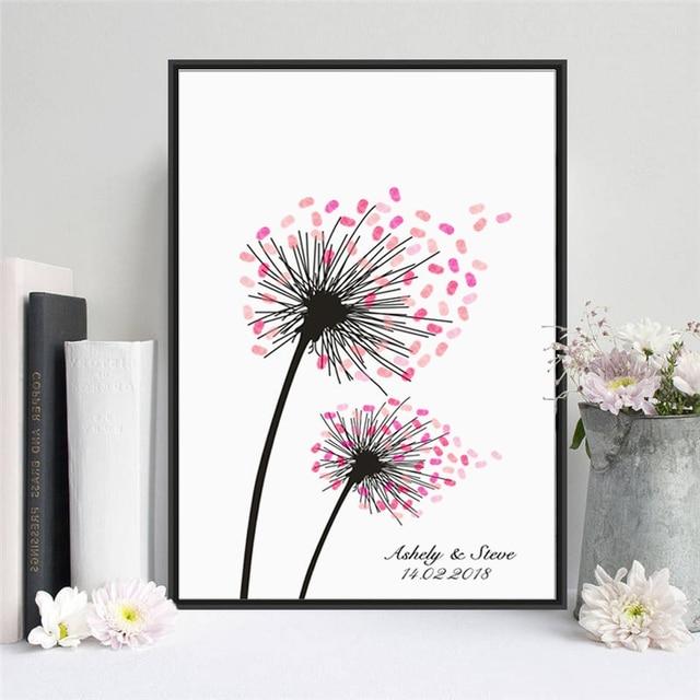haochu pissenlits dans le vent fleur toile peinture de mariage arbre d 39 empreinte digitale. Black Bedroom Furniture Sets. Home Design Ideas