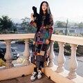 2016 Casacos de Primavera Outono Mulheres Manga Comprida Vestido de Roupas Étnicas Abrigos Mori Menina Xadrez Casaco Trench Coat Blusão Do Vintage