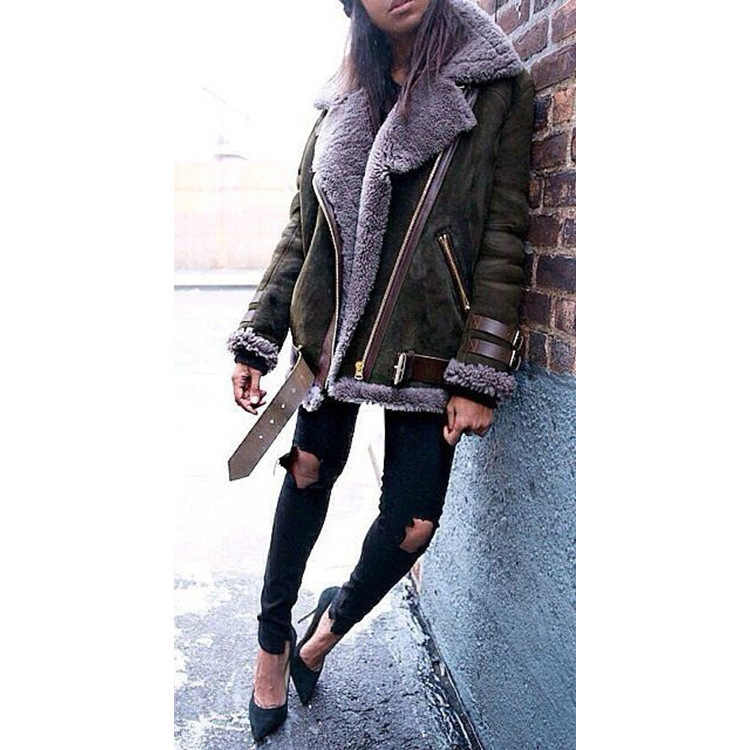 8374be38e1c ... Suede Leather Lamb Fur Coat Women 2018 Fashion Warm Wool Teddy  Motorcycle Jacket Ladies Winter Faux ...