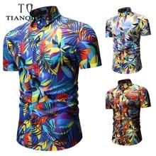 2019 NEW Men Summer Hawaiian Short Sleeve Shirts Plus Size M-3XL Flower Casual Beach Blouse Tee Tops Shirt European