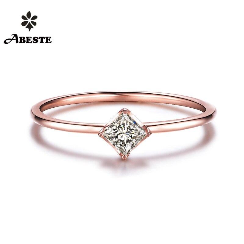 ANI 18 K Branco/Amarelo/Rosa de Ouro (AU750) mulheres Anel de Casamento 0.1 CT H/SI Certified Natural Anel de Noivado de Diamante do Corte Da Princesa
