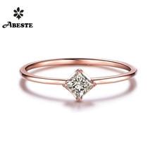 ANI 18K White/Yellow/Rose Gold (AU750) Women Wedding Ring 0.1 CT H/SI Certified Natural Princess Cut Diamond Engagement