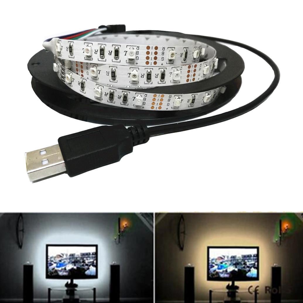 DC 5V 6V 50CM 1M 2M 3M 4M 5M USB Cable Power RGB LED Strip Light Tape SMD 3528 Desk Decor Lamp For Computer TV Background