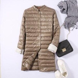 Image 3 - Ftlzz 울트라 라이트 오리 롱 자켓 여성 스프링 패딩 웜 코트 여성 자켓 오버 코트 겨울 코트 휴대용 파커
