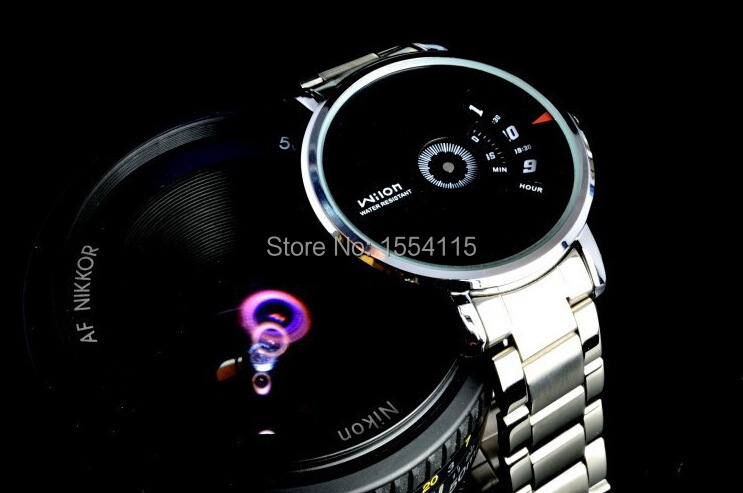100pcs /lot Hot Sale HK Brand Wilon Brand Men Stainless Steel Wrist Watch Business Watch Gift Watch Promotion