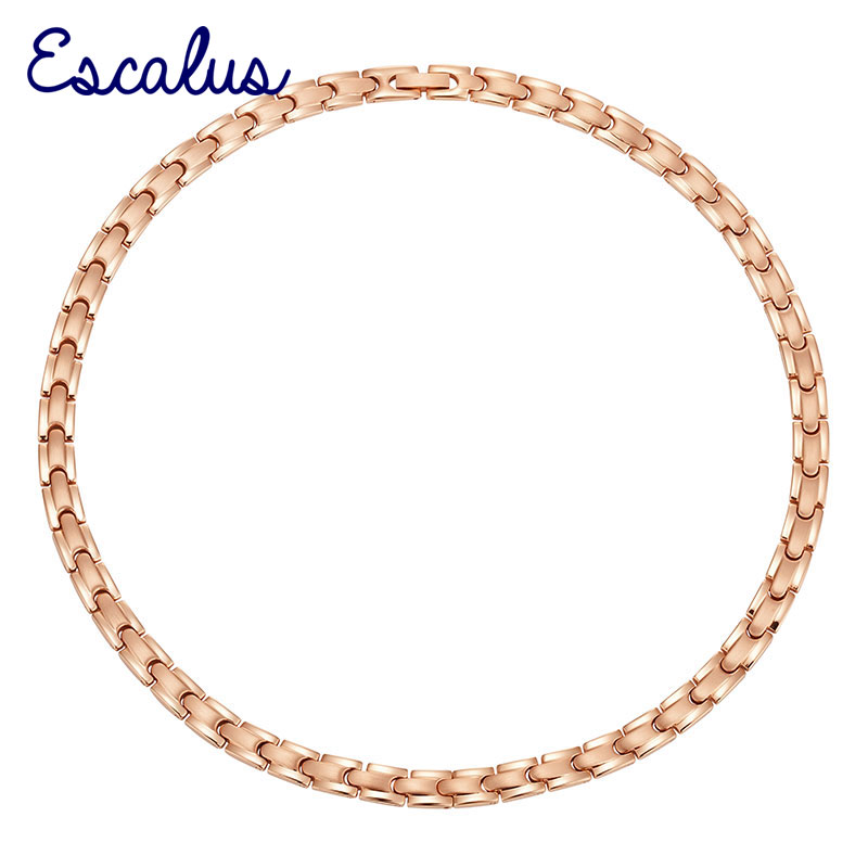 Escalus Bio Healing Magnetic Stainless Steel Women Necklace Rose Gold Magnet 316L Lady Chain Jewelry Choker Neckwear Charm