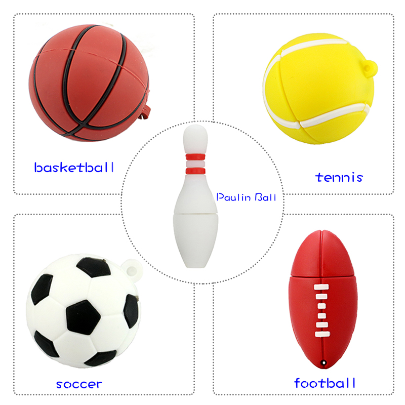 USB Flash Drive Basketball/football Pen Drive 4GB 8GB 16GB 32GB 64GB Paulin Ball/tennis Memory Stick Creative Gift Pendrive Cle