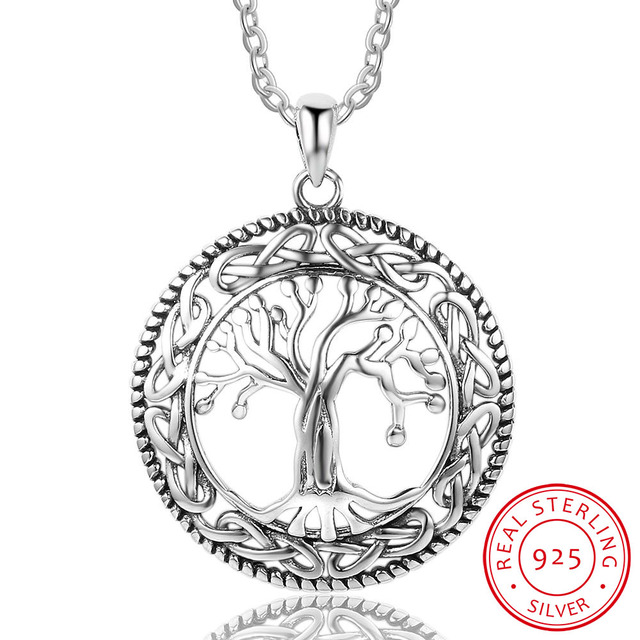 925 Sterling Silver Tree of Life Pendenti con gemme e perle e Collana Per Le Don