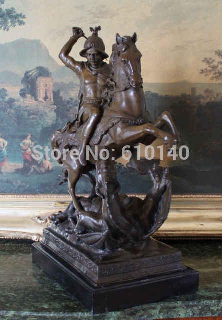 Святой Георгий Убийца Драконов Военная Санкт Бронзовый Мраморная Статуя Римского Солдата