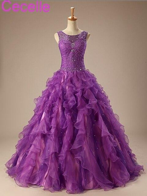 סגול כדור שמלת שמלות נשף 2019 שרוולים חרוזים ראפלס נסיכת רצפת אורך בני נוער פורמליות לנשף שמלות מתוק 15 שמלת מכירה