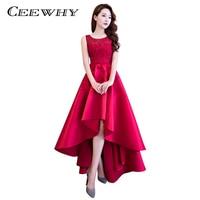 CEEWHY Doce Cor Assimétrica Vestido de Cetim Elegante Longo Formal Vestido de Festa À Noite Vestido de Renda Vestidos de Noite Preto Rosa Borgonha