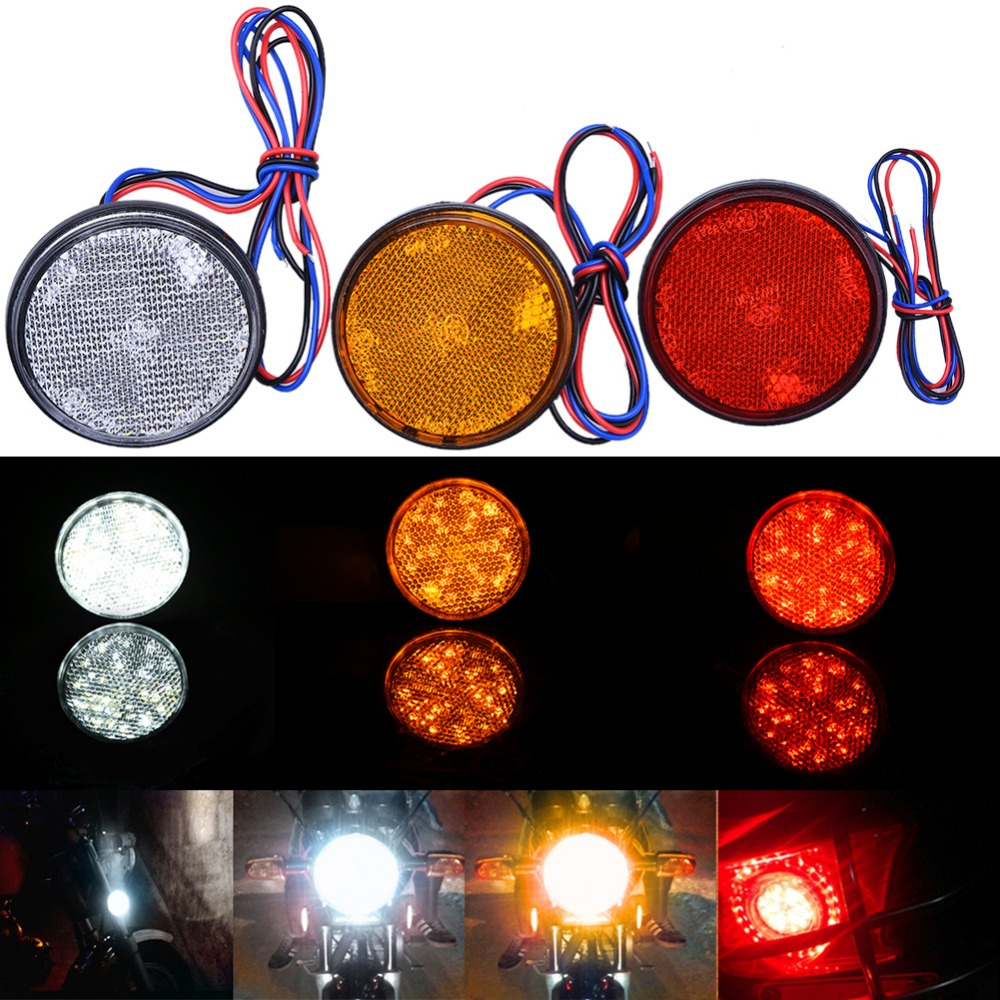Auto Car Motorcycle 24SMD LED Car Motorcycle Headlamp Bulbs Round Reflector Motobike LED Lights Red White Yellow Light 12V J15