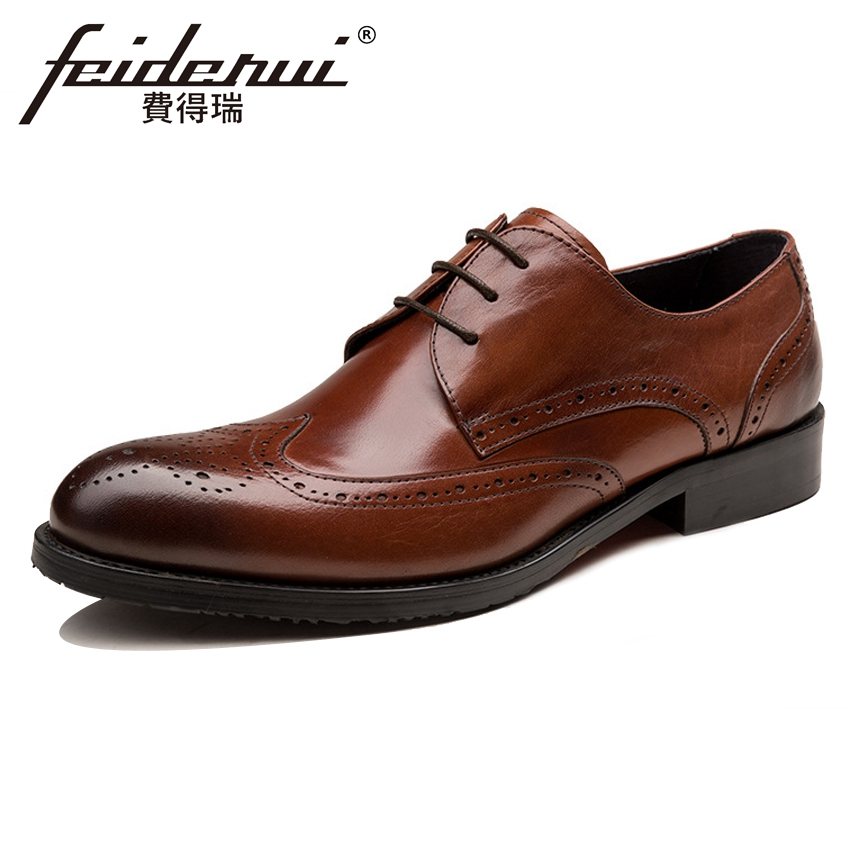 New Vintage Genuine Leather Men's Carved Office Oxfords Round Toe Derby Man Handmade Formal Dress Wedding Brogue Shoes YMX566 genuine leather mens derby shoes classic oxfords wedding dress shoes business formal brogue round toe carved us6 0 10 plus size