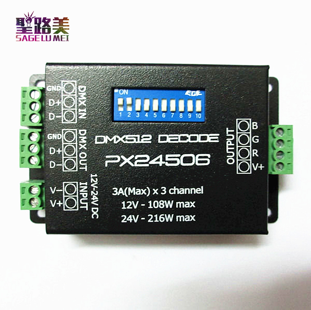 Free shipping PX24506 DMX512 Decoder Driver 9A DMX 512 Amplifier Controller DC12V 24V RGB LED Strip Light tape LED Lamp Module dc12v 24v led rgb controller 27ch 27channels led dmx512 decoder with xrl 3p rj45 for led strip light led lamp free shipping