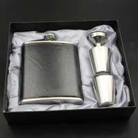 Gift For Men 1 Set 7 Oz Black Stainless Steel Hip Flask Leather Wrapped With 1