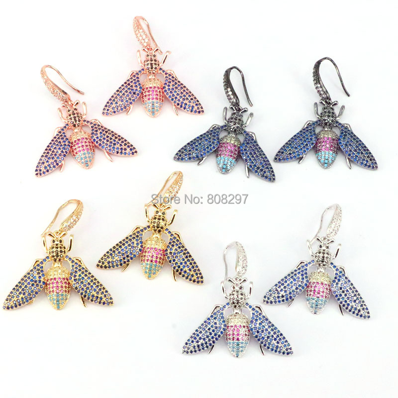 3Pair New! mix colors micro pave CZ insect earrings fashion drop earring jewelry for women