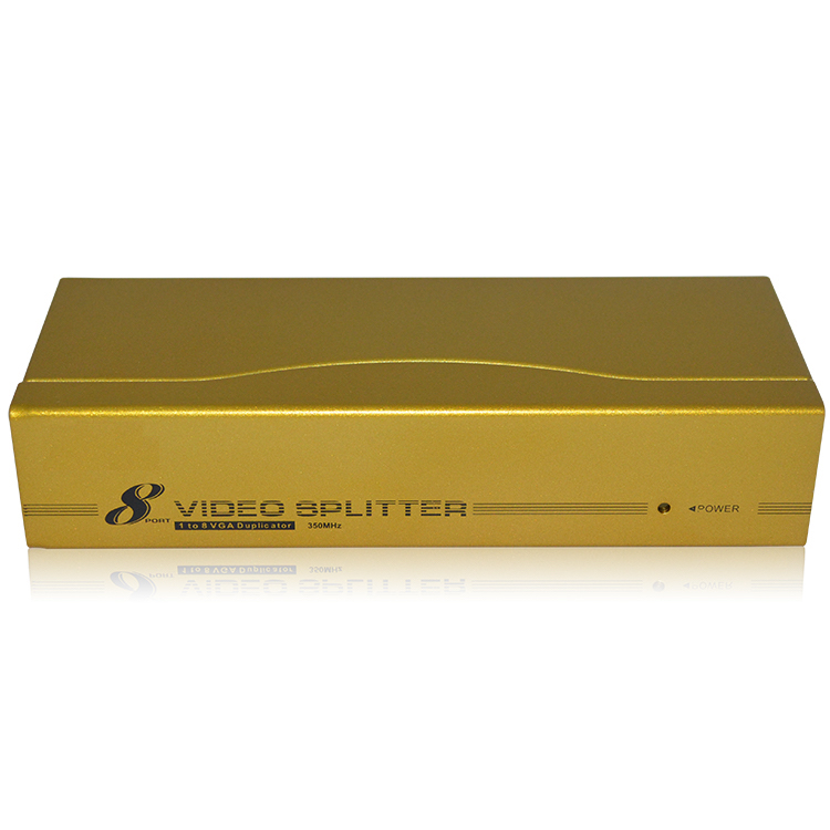 HighTek HK-V1T8H 350MHz High Quality Product Factory supply 8 Port VGA Splitter 1X8 for media hightek hk 5110a industrial grade 1 port rs232 485 to 4 port rs485 hub each port with optical isolation 600w thunder protection