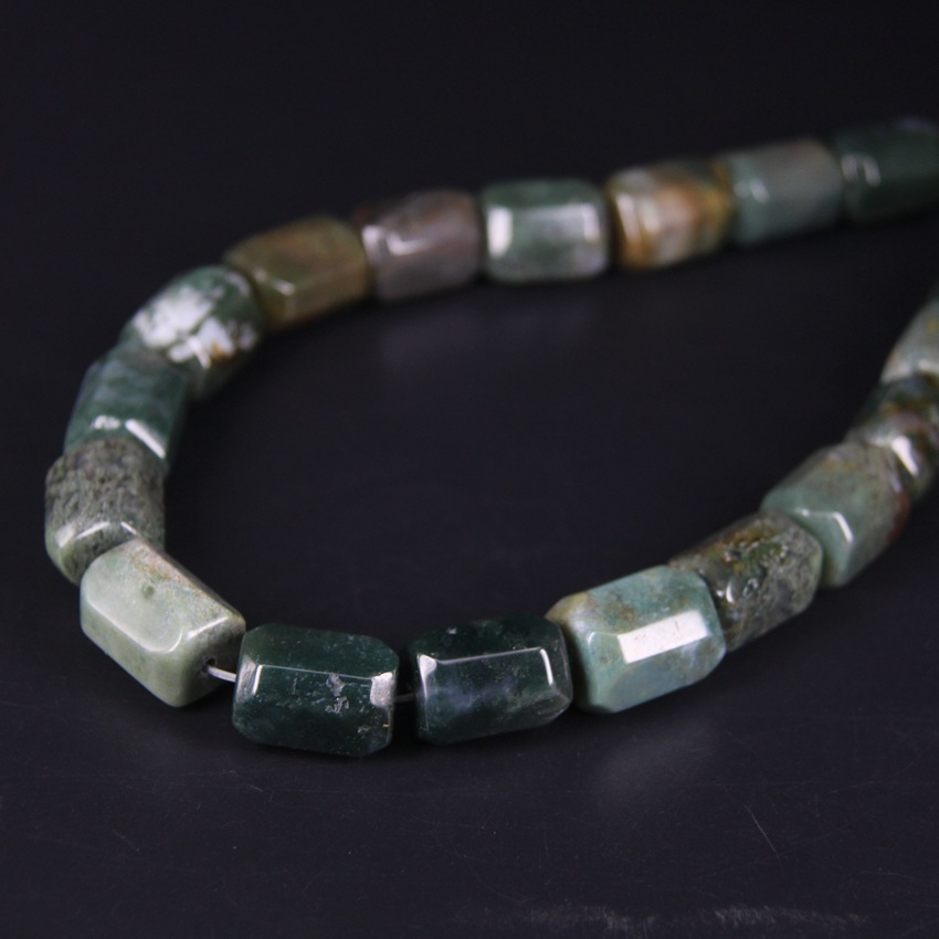 18 19pcs strand Natural India Aagtes Faceted Cylinder Nugget Pendant Beads Cut Green Stone Tube Necklace Bracelet Jewels Making in Beads from Jewelry Accessories