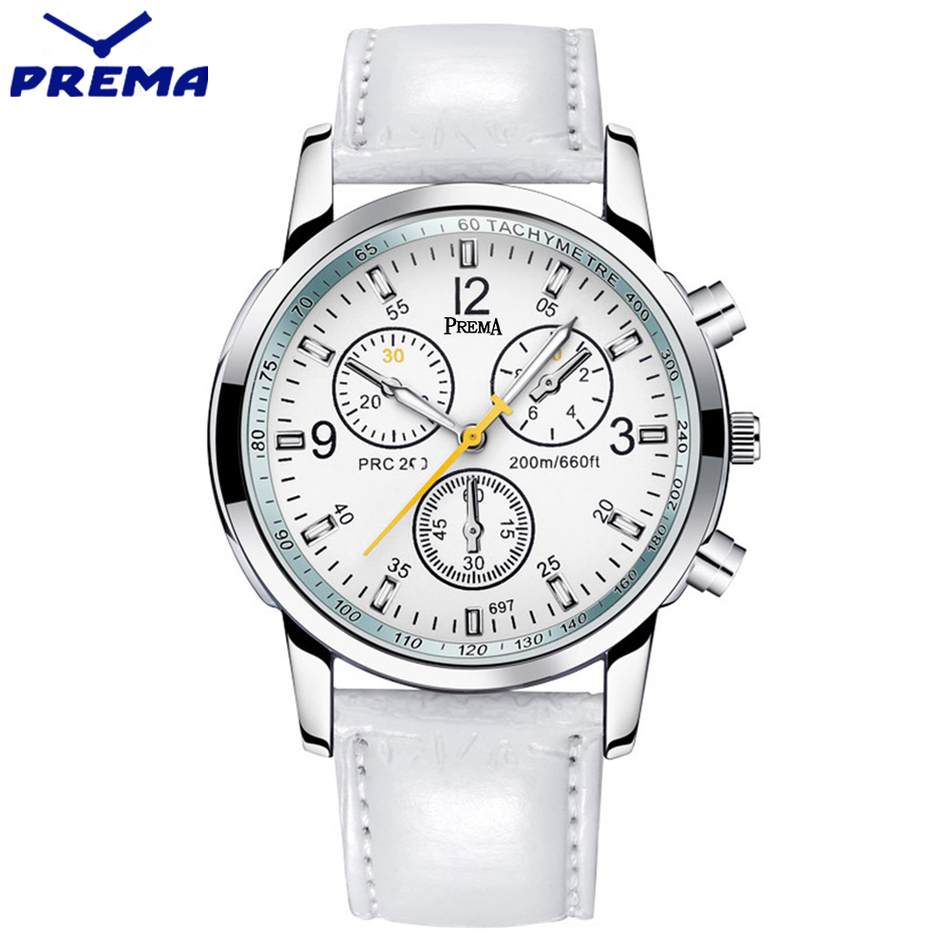 New 2016 PREMA Luxury Brand Quartz Watch Casual Fashion White Leather Watches Reloj Masculino Men Women Watch Sports Wristwatch new listing men watch luxury brand watches quartz clock fashion leather belts watch cheap sports wristwatch relogio male gift