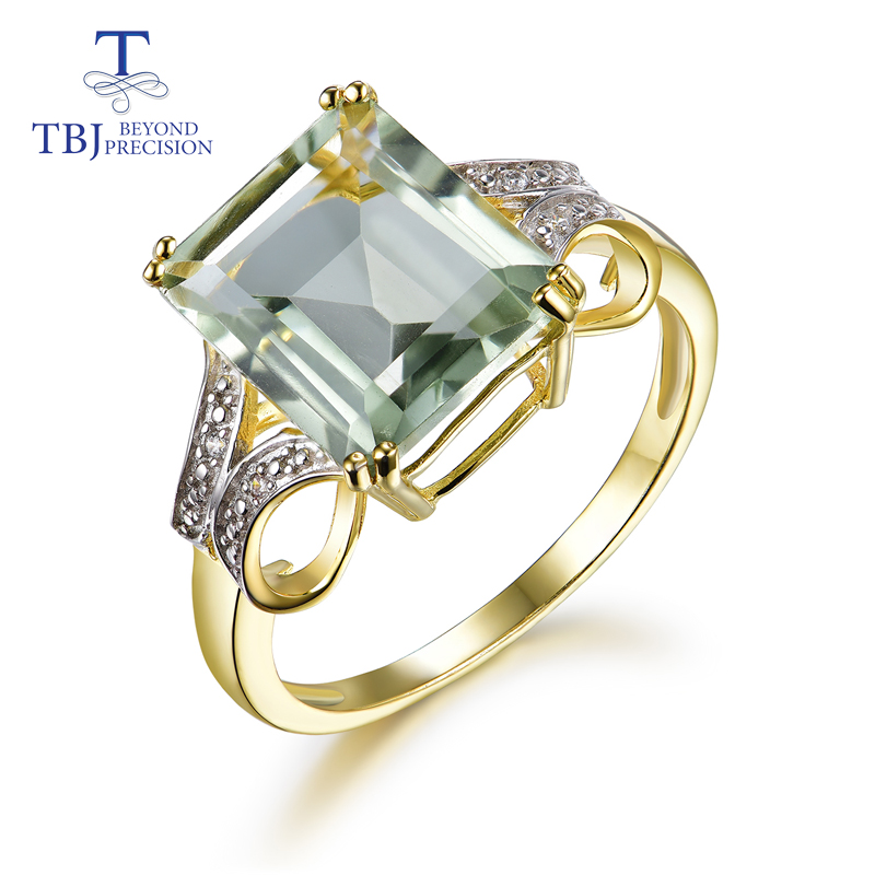 TBJ new design green amethyst rings prasiolite rings natural gemstone 925 sterling silver fashion fine jewelry